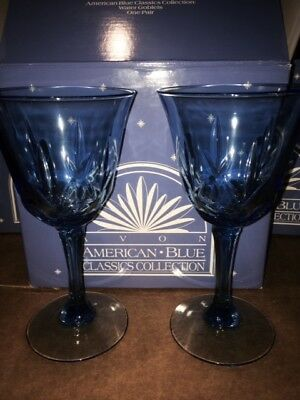 Avon American Blue Classics Collection Water Goblets - Set of 8 - NIB