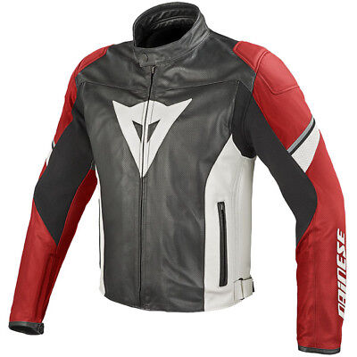 Dainese Airfast Summer Leather Motorcycle Jacket - Black / Red / White