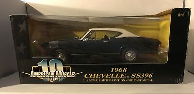 American Muscle 1968 Chevelle SS396 Black White Top 1:18 Scale Limited Edition