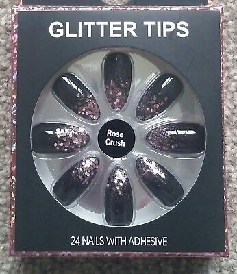 Fashion False Nails Primark Pointed GLITTER TIPS ROSE CRUSH  incl adhesive bn