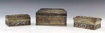 3 Old Antique Asian Chinese Silver + Metal Boxes With Openwork And Enamel