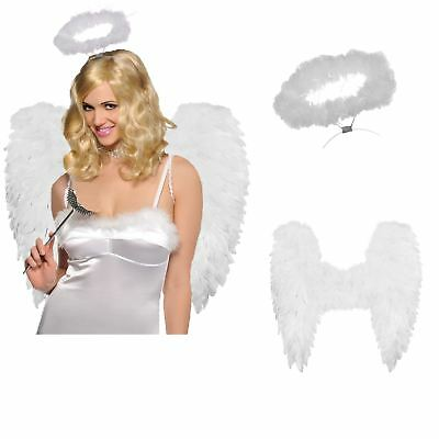 Ladies Deluxe White Wings + Feather Halo Christmas Angel Fairy Nativity Costume