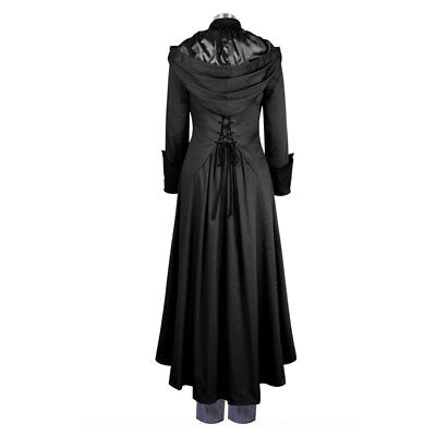 2018 Men Medieval Goth Steampunk Military Trench Coat Long Jacket Gothic Uniform
