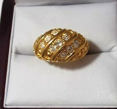 Vintage Wide Gold tone Shiny White Rhinestones Dome Cocktail Ring.