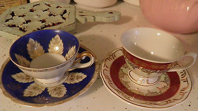 2 Leart Brazil & Japan Demitasse Tea Cups & Saucers White Red Blue Floral Leaves