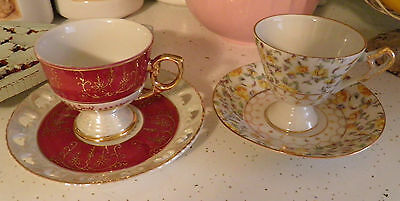 2 Demitasse Tea Cups & Saucers Japan White Gold Red Yellow Roses Floral
