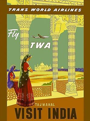 Fly TWA Visit India Taj Mahal Vintage Airline Travel Advertisement Art Poster