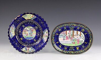 Pair Of Antique Chinese Peking Canton Enamel On Copper Trays Plates