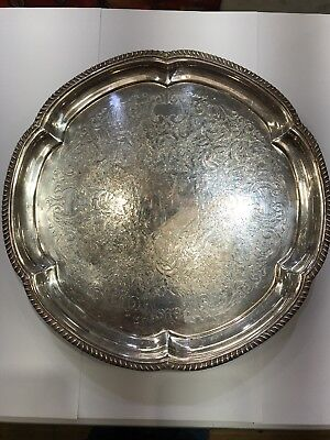 """Vintage WM Rogers Silver Plate Serving Tray 12 1/4"""" Braided edge, Round"""