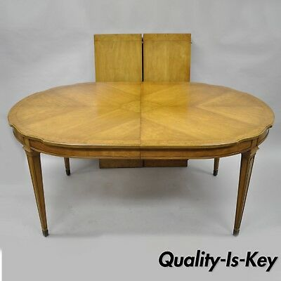 Vintage French Provincial Hollywood Regency Burl Wood Walnut Dining Room Table
