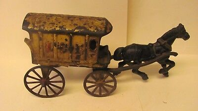 Vintage Cast Iron Horse Drawn Ice Wagon Believed To Be From The 1800's