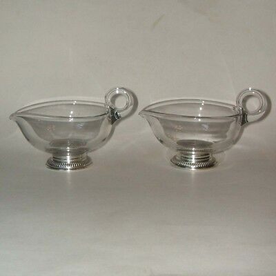 2 Vintage Crystal Gravy Sauce Boats With Sterling Silver Bases Possibly Whiting