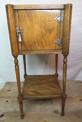 Vintage Smoking Stand Cabinet Nightstand Side Table Wood Furniture Humidor