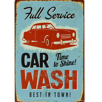 Retro Deko Blechschild Car Wash full service Nostalgie Metallschild Wanddeko USA