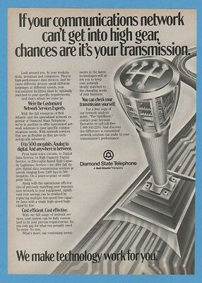 1985 Diamond State Telephone Gear Shift Shifter Stick GREAT ART Ad