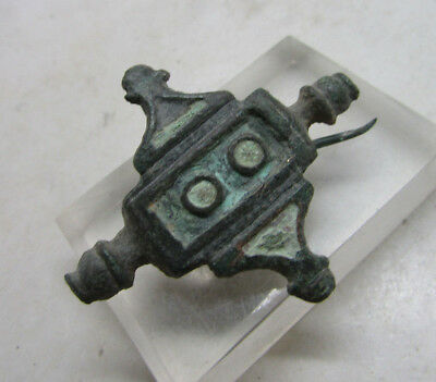 Superb ancient Roman bronze imperial plate brooch with enamel