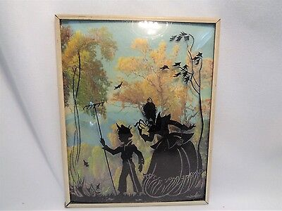 Vintage Reverse Paint on Concave Glass Silhouette Lithograph Mother Son Raking