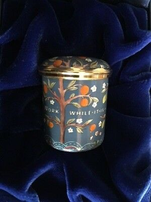 """Halcyon Days Enamel Box  """"Work while it is yet day"""" V&A"""