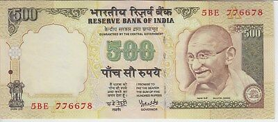 """India Banknote P93 500 Rupees,sig Reddy Inset Letter  """"a"""" Prefix 5Be, Ef-Au"""