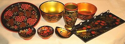 Vintage Russian KHOKHLOMA Collection Soviet USSR Lacquered Wood 543r