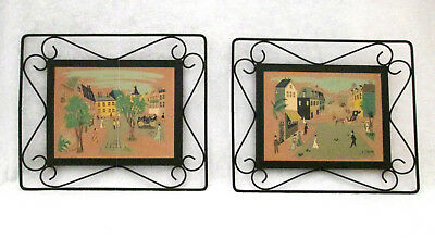 Set of Vintage Mid Century Art Screen Prints With Metal Frames EXCELLENT City