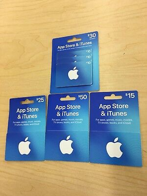 App Store & iTunesGift Cards $50.00 / $30.00 / &25.00/ $15.00 Mail DeliveryONLY