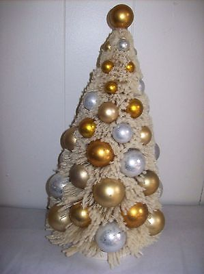 """13"""" Off-white Flocked Bottle Brush Tree with Silver & Gold Balls by Bethany Lowe"""
