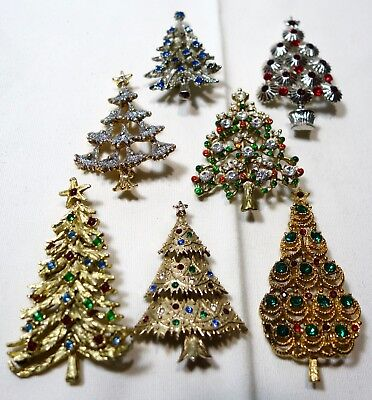 Collection of 7 Christmas tree Pins with Rhinestones