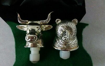 Vintage Neiman Marcus Bull and Bear Silver-Plated Wine/Whiskey Bottle Stoppers