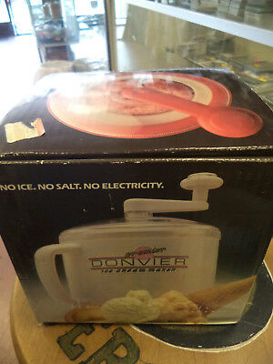 Donvier Premier Ice Cream Maker Complete With Box and Recipe Book- Red