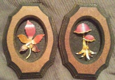 Handmade pair of Decorative Plaques , with Brass art , Leaf and Mushroom