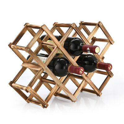 10 Bottle Wine Rack Wooden Folding Vintage Standing Bottles Bar Kitchen Wood Sta