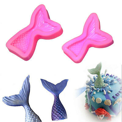 3D Mermaid Tail Scale Silicone Fondant Mould Cake Decor Sugar Chocolate Mold S L