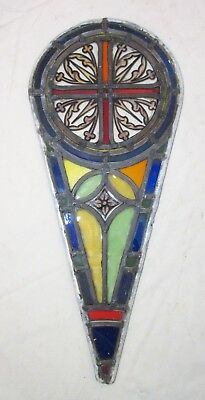 antique 1800's handmade stained leaded glass teardrop church window panel #3
