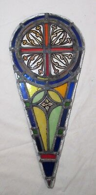 antique 1800's handmade stained leaded glass teardrop church window panel #7