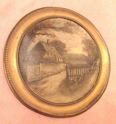 antique 1800's original hand painted brass tole oil landscape domed painting