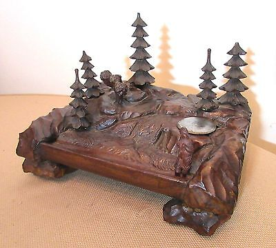 antique hand carved black forrest wood woods desk inkwell stand box sculpture