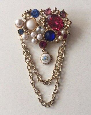 Vintage 1980's Large Jeweled Pin Brooch