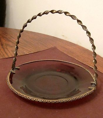 antique ornate Victorian gold gilded bronze red glass candy serving dish plate