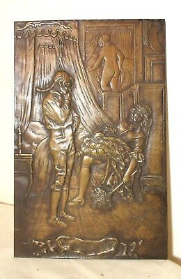 antique tooled bronze French figural Stella nude wall relief plaque panel art
