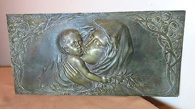 large antique 1800's solid bronze religious Mary Madonna Jesus wall plaque icon