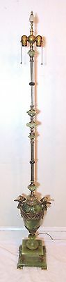 large antique ornate green onyx brass eagle figural jeweled electric floor lamp