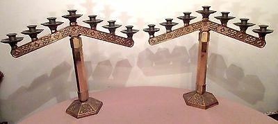 large heavy pair vintage ornate religious church bronze candelabra candle holder