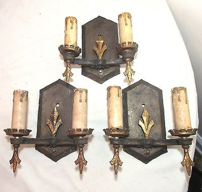 lot of 3 antique bronze cast iron Arts and Crafts electric wall sconce fixture