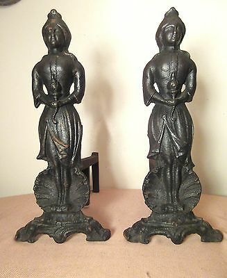 pair antique solid heavy cast iron lady liberty figural fireplace andirons dogs