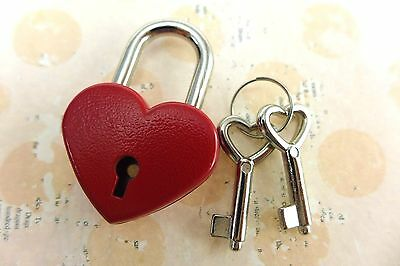 (Pack of  10) Old Antique Vintage Style Small Padlock Key Locks -  Red Color