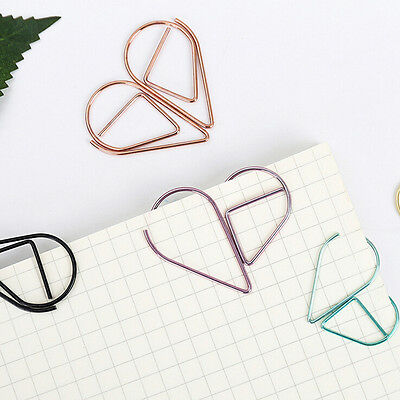 20X Bookmarks File Paper Documents Paperclips water drop Shape Metal Clips GiftR
