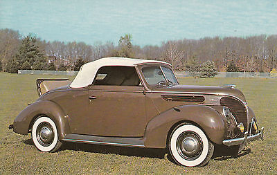 1938 Ford V-8 Convertible Coupe Car Vintage Postcard Roarig 20s Autos Wall NJ