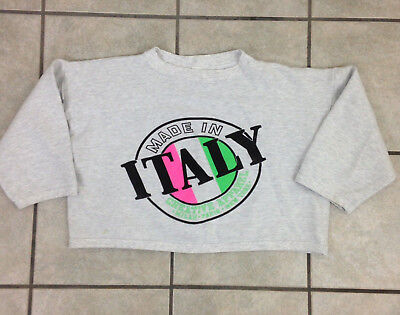 "Vintage ""Made in Italy"" 50/50 Crop Sweatshirt Creative Apparel - Sz L - Made in"