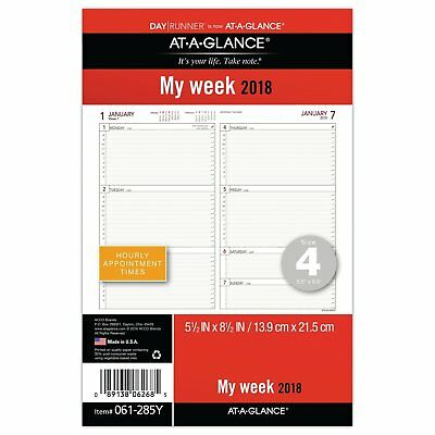 AT-A-GLANCE Day Runner Weekly Planner Refill, January 2018 - December 2018, x 4